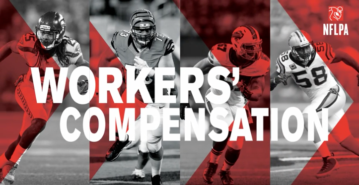 """A series of football players with the text overlay """"Workers' compensation""""."""